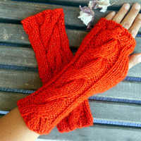 Knitted Gloves,Crochet Gloves,Coquelicot Color,Handmade,Fingerless Gloves,Winter Glove,Knit Long Gloves,Women Gloves,Bright Glove,Gift Ideas
