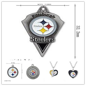 Hot Selling Football Sport Team Pittsburgh Steelers Dangle Charms Fit DIY Bracelet&Necklace Pendant Jewelry 20pcs/lot