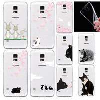 2015 New Fashion Colorful Animal Case For Samsung Galaxy S5 Soft Silicon TPU Cover Back Classic Beautiful Cute Cat
