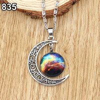 2015 hot sell Women Fashion Galactic Glass Alloy Pendant Silver-Tone Crescent Moon Necklace 56AM