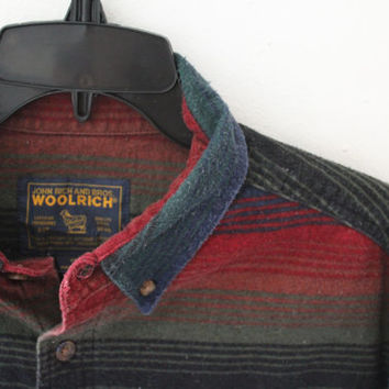 Woolrich Outdoors Striped Multi Color 100% Cotton Red Blue Green Orange Shirt Mens size XL Extra Large