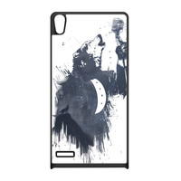 Wolf Song 3 Black Silicon Rubber Case for Huawei P6 by Balazs Solti