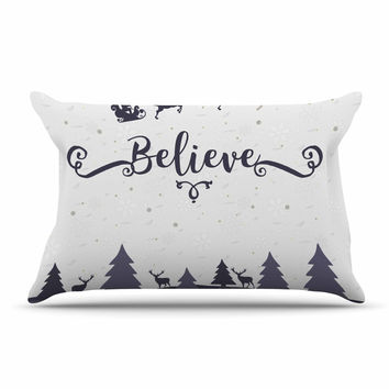 "Famenxt ""Christmas Believe"" Gray Lavender Illustration Pillow Case"