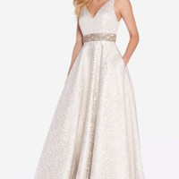 Alyce 60121 Brocade A-line Dress with Beaded Waist