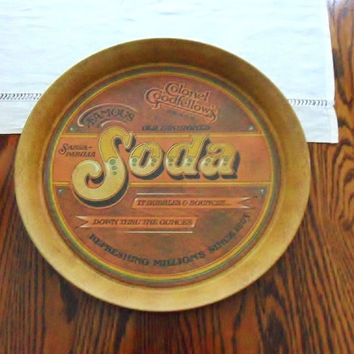 Soda Snack Tray Ballonoff Style Pentron Round Tin Bar Ware Drinks Carrier Party Platter 1970s Holiday Serving Snack Tray