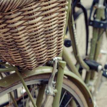 Olive Green Bike Wicker Basket Art Print Bicycle Photography Rustic Industrial Home Decor Wall Art