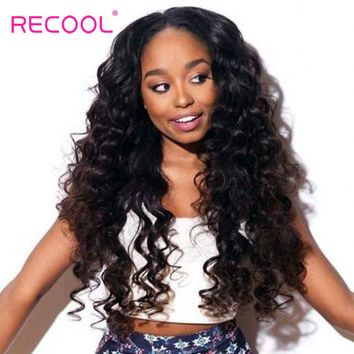 Recool Hair Loose Deep Brazilian Hair Weave Bundles 100% Human Hair Extension Natural Black Color More Wave Remy Hair Bundles