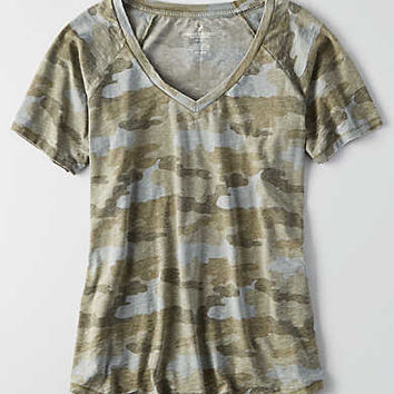 AEO V-Neck Swing T-Shirt , Olive