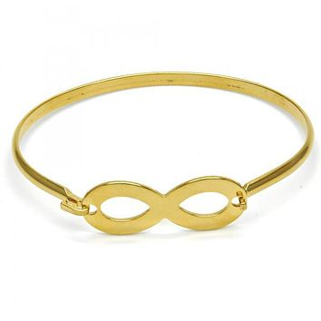Stainless Steel 07.110.0011.05 Individual Bangle, Infinite Design, Polished Finish, Golden Tone (04 MM Thickness, Size 5 - 2.50 Diameter)