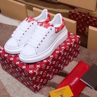 Best Online Sale LV x Supreme x McQueen Women Fashion White / Red White / brown Sneaker Casual Shoes