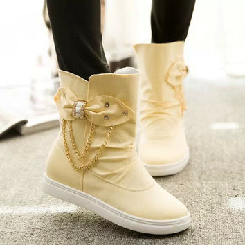 New Style Canvas Bowknot Flat Boots