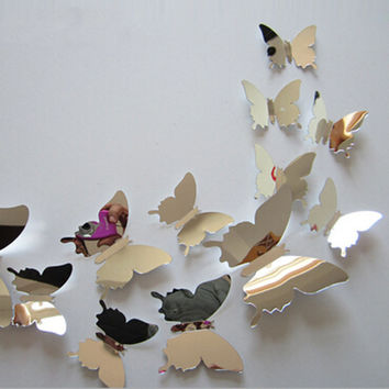 12pcsset new arrive mirror sliver 3d butterfly wall stickers party wedding decor diy home