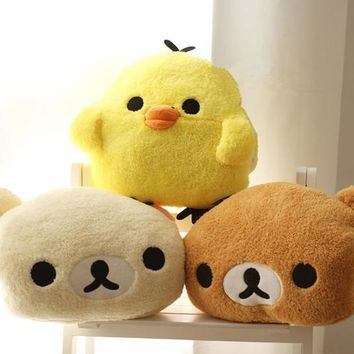 Free shipping 30x25cm plush rilakkuma/yellow chicken hand warmer pillow, stuffed animal cushion, happy birthday gift for girls