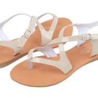 Womens Roman Gladiator Sandals Flats Patent Leather Thongs Shoes 4 Colors (9, Beige 2553)