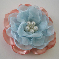 Gorgeous Peach Satin with Blue Chiffon Hair Clip Bride Bridesmaid Mother of the Bride Choose Pearl or Rhinestone Accent Hair Accessories