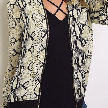 Snake Print Zip Up Front Chiffon Bomber Jacket