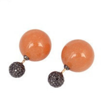 Amber Gemstone Bead Designer Tunnel Earrings