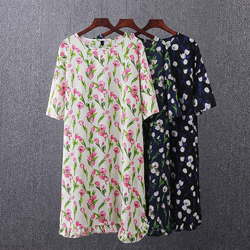 F11 Summer Casual Women Dresses 3XL Plus Size Clothes Fashion Short sleeve tulip Pattern Dress 4427