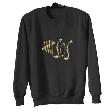 5 sos sweater Black Sweatshirt Crewneck Men or Women for Unisex Size with variant colour