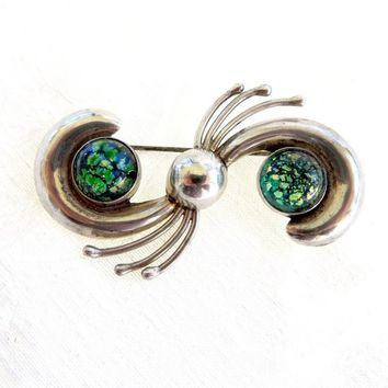 Sterling Fire Opal Brooch, Mexico Silver Pin, Signed AVM, Vintage Mexican Sterling Silver