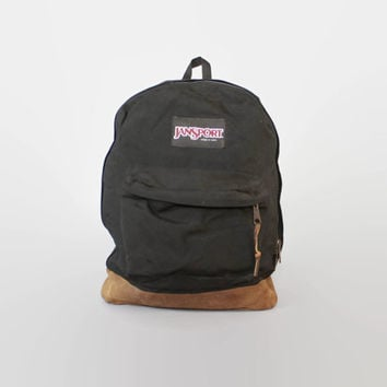 Vintage JANSPORT BACKPACK / BLACK Canvas & Leather Bottom School Bag Daypack