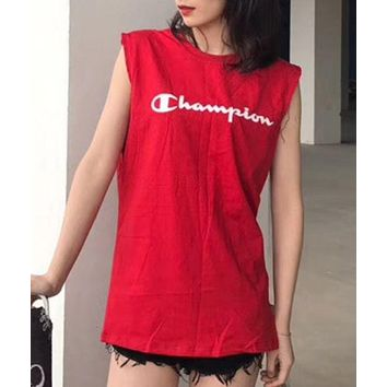 Champion Sexy Sleeveless Vest Women Girl 8 Color Lovers Vest Red