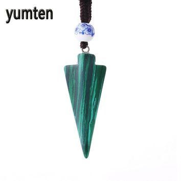 Yumten Natural Stone Arrow Pendant Rope Chain Necklace Crystal Jewelry Choker Rhinestone Malachite Tiger Eye Opal Ketting Quartz