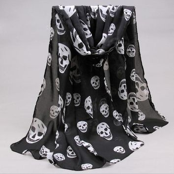 Long Shawl Fahion Skull Print Chiffon Silk Scarf Mulim Hijab For Man Women Soft Thin 65*160cm