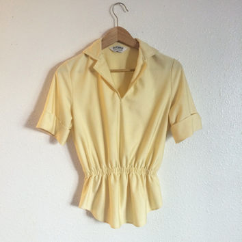 50's Judy Bond smocked yellow shirt with collar