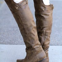 Polo Club Flat Over The Knee Boot (Taupe)