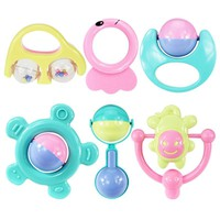 6Pcs/set Baby Teether Rattles Newborn Baby Toy Hand Bell combination Toys For Newborns Gift For Children