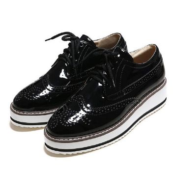 Brogue Platform Oxford Shoes