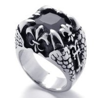 My Associates Store - KONOV Jewelry Dragon Claw Stainless Steel Mens Ring - Silver Black (Available in Size 8, 9, 10, 11, 12, 13)