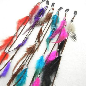 DCCKIX3 New Bohemian Women Ladies Real Feather Clips in on Hair Extensions Accessories