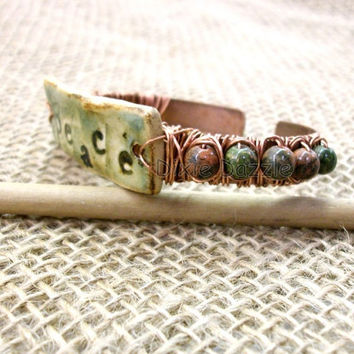 Wire wrapped antiqued copper cuff with stoneware clay and unakite, boho peace adjustable cuff bracelet by Dixie Dazzle