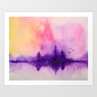 Purple Forest Framed Art Print by ahmadillustrations