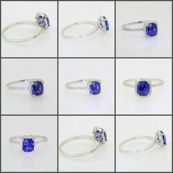 2.02 color of gem quality royal blue sapphire,14K white gold engagement diamonds halo ring JOAN-935B