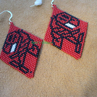 Native American Style North Coastal Brick Stitch beaded Orca or Killer Whale earrings in Red black and White