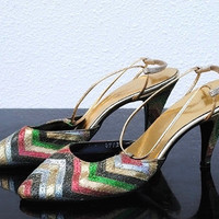 Vintage Designer Levine Heels, Womens Shoes, Strappy Multi Color Zigzag, 8 Medium