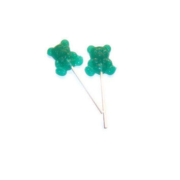 8 Teddy Bear Lollipops - Cotton Candy - Teal Colored  - Birthday Party Favors