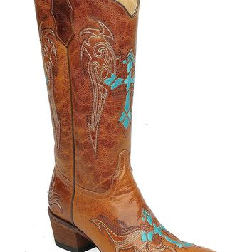 Circle G Women's Retro Wing and Cross Embroidered Cowgirl Boot Snip Toe - L5104
