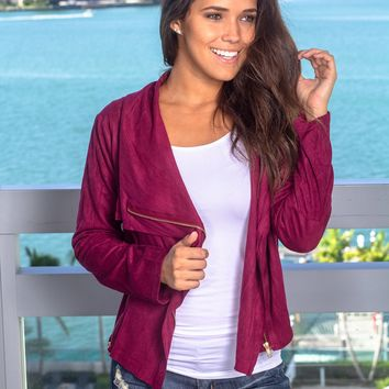 Wine Suede Jacket with Zipper Detail