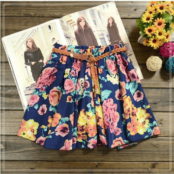 Skirt women 26 Colors Pleated Floral Chiffon Women Ladies Mini Skirt Belt Include