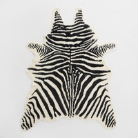 Black and Ivory Faux Zebra Hide Area Rug