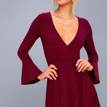 Plot Twist Burgundy Flounce Sleeve Wrap Dress