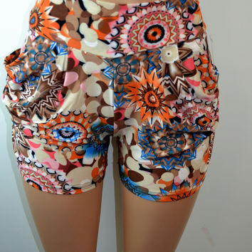Shosho Womens Abstract Print Harem Shorts