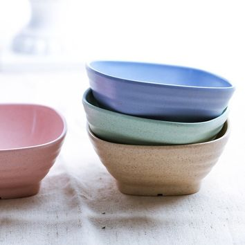 Eat a Bowl of Soup Wheat Square Creative Household Salad Bowl Dessert Bowl of Seasoning Bowl (Color: Pink, Green, Blue, Beige)