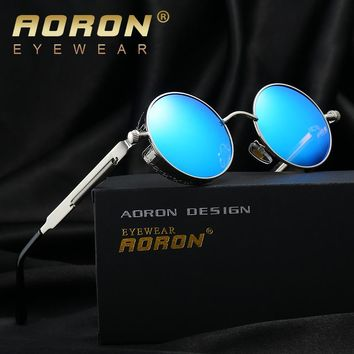 AORON Gothic Steampunk Round Sun Glasses Men & Women Polarized Sunglasses John Lennon Granny Sunglasses Vintage Sol Eyewear