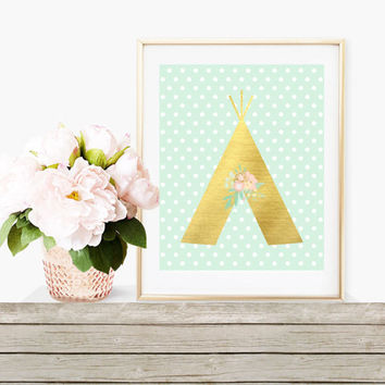 Digital Print, Tribal Wall Art, Tribal Decor, Baby Print, Shabby Chic, Teepee Prints, Shabby Chic Prints, Nursery Decor, Nursery Print, Gold