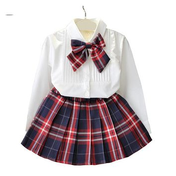 White Blouse + Plaid Skirt 2pcs Back To School